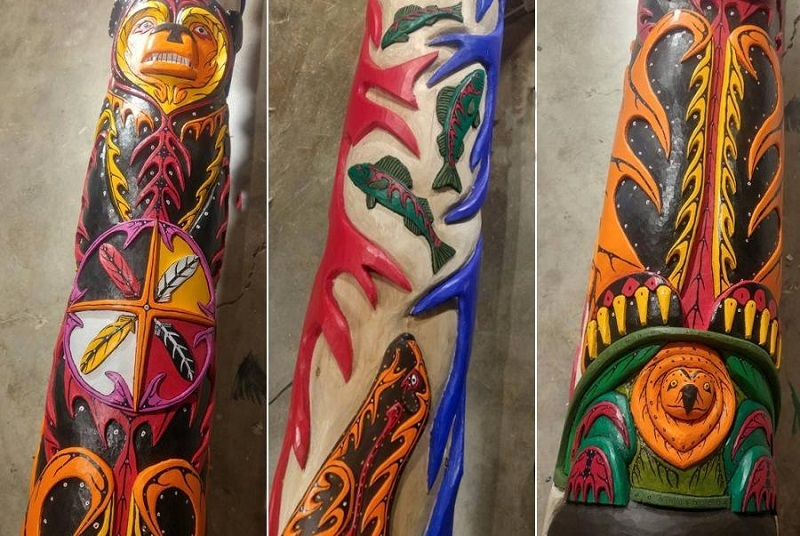 Unity Totem Pole for CNE created by Local Ojibway Artist